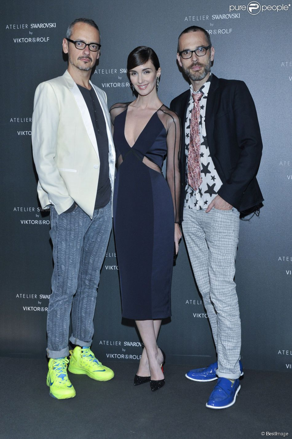 Paz Vega entre Viktor & Rolf - Soirée Swarovski et Viktor & Rolf à l'Ecrin lors du 67e Festival international du film de Cannes, le 16 mai 2014