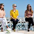 Joséphine Japy, Mélanie Laurent et Lou de Laâge sur la plage Majestic à Cannes, le 17 mai 2014.