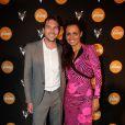 Laurence Roustandjee et son compagnon Gregory Ferrie lors de la soirée Reebok durant le Festival de Cannes le 17 mai 2014.