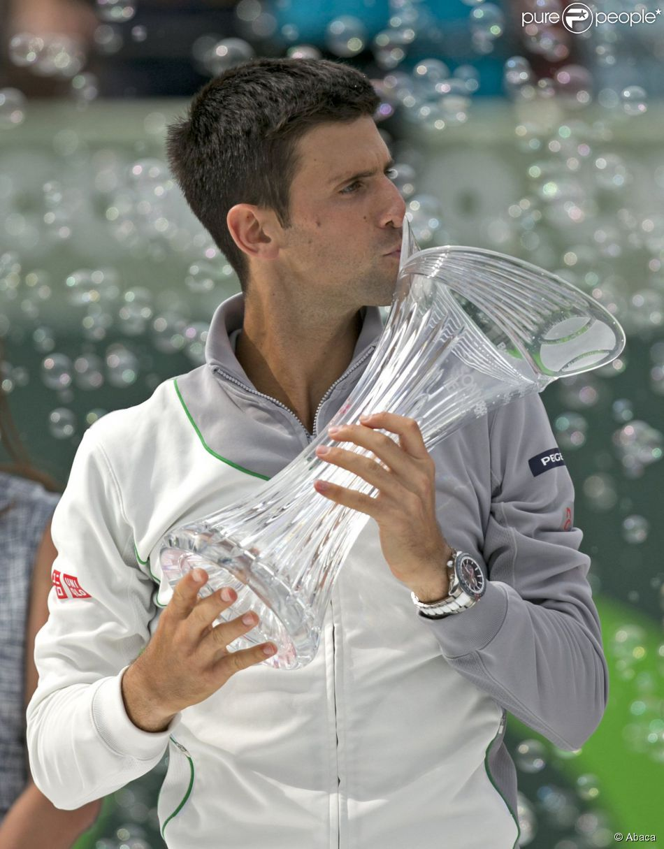 Novak Djokovic après sa victoire sur Rafael Nadal en finale de Key Biscayne, le 30 mars 2014