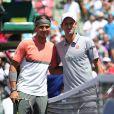 Novak Djokovic et Rafael Nadal lors de leur finale du tournoi de Key Biscayne, le 30 mars 2014