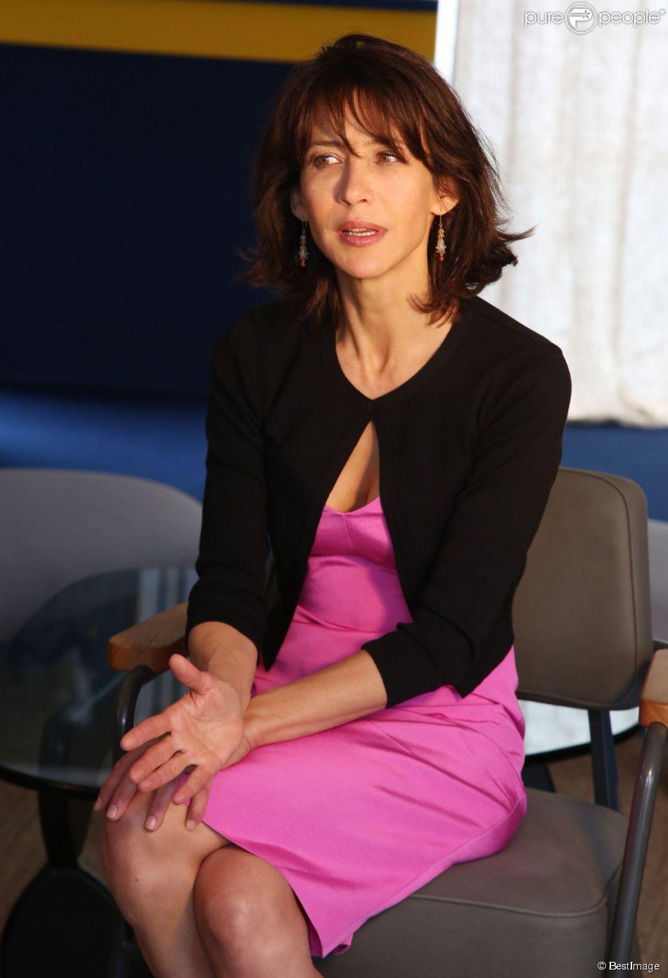 """Exclusif - Sophie Marceau lors d'une interview pour la promotion du film """"Tu veux ou tu veux pas"""" avec Patrick Bruel au Pavillon Unifrance lors du 67e Festival du film de Cannes, le 19 mai 2014."""