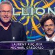 Laurent Ruquier et Michael Gregorio dans Qui veut gagner des millions ? sur TF1, le vendredi 23 mai 2014.