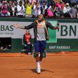 Jo-Wilfried Tsonga lors de la journées des Enfants de Roland-Garros, à Roland-Garros, le 24 mai 2014 à Paris