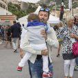 Max Biaggi et son fils lors du Grand Prix de Monaco le 25 mai 2014