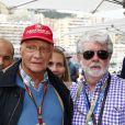 Niki Lauda et George Lucas lors du Grand Prix de Monaco le 25 mai 2014