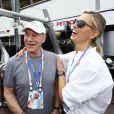 Sir Patrick Stewart et Karolina Kurkova lors du Grand Prix de Monaco le 25 mai 2014