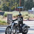 Johnny Hallyday est rentré en moto de Malibu, le 25 mai 2014.