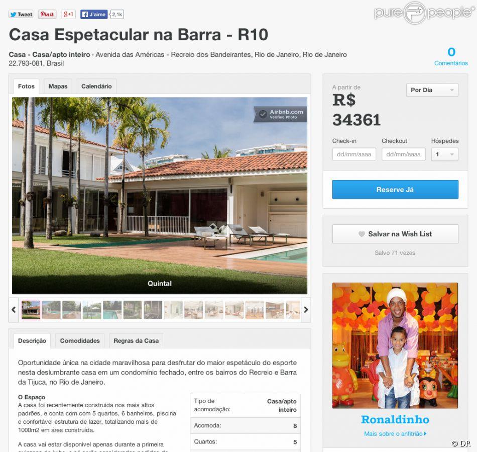 L'annonce de la maison de Ronaldinho sur le site internet de airbnb