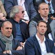 Jacques Laffite, Olivier Panis, Cédric Pioline, Alain Bernard à Roland-Garros à Paris, le 4 juin 2014.