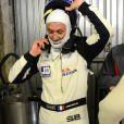 Fabien Barthez, pilote pour l'équipe Sofrev ASP, lors des essais pour les 24 heures du Mans. Le Mans, le 1er juin 2014.