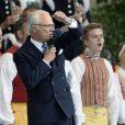 La famille royale de Suède a célébré au parc de Skansen, sur l'île de Djurgarden à Stockholm, la fête nationale le 6 juin 2014.