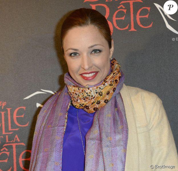 """Natasha St-Pier - Première de la comédie musicale """"La Belle et la Bête"""" avec Vincent Niclo dans le rôle de la Bête au théâtre Mogador à Paris, le 20 mars 2014."""