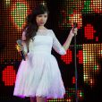 Indila au concert M6 Music Live, à Issy-les-Moulineaux, le 14 juin 2014.