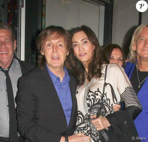 Paul McCartney célébrait son 72e anniversaire, entouré de son épouse Nancy Shevell,  Barbara Bach, Marjorie Bach, Joe Walsh et Glenn Frey du groupe Eagles et Olivia Harrison au très privée Ivy Club de Londres, le 17 juin 2014