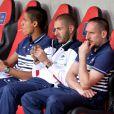 Raphaël Varane, Karim Benzem et Franck Ribéry à l'Allianz Riviera Stadium de Nice le 1er juin 2014