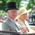 """Le prince Charles et Camilla Parker Bowles, duchesse de Cornouailles - La famille royale d'Angleterre au 2e jour de la course hippique """"Royal Ascot"""" à Ascot dans le Berkshire. Le 18 juin 2014."""