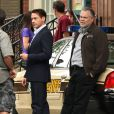 "Robert Downey Jr. et Vincent D'Onofrio sur le tournage du film ""The Judge"" à Shelburne Falls, le 6 juin 2013."