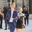 Ansel Elgort et sa petite amie Violetta Komyshan à l'hôtel Salomon de Rothschild pour le défilé homme Valentino printemps-été 2015. Paris, le 25 juin 2014.
