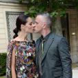 Eros Ramazzotti et Marica Pellegrini à l'hôtel Salomon de Rothschild pour le défilé homme Valentino printemps-été 2015. Paris, le 25 juin 2014.