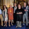 Pierre Perret a reçu la médaille de Commandeur de l'Ordre des Arts et des Lettres des mains de la ministre de la Culture Aurélie Filippetti; devant sa femme Rebecca, à Paris, le 9 juillet 2014.