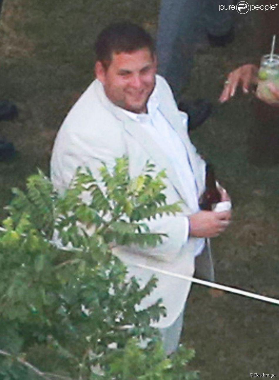 Exclusif - L'acteur Jonah Hill au mariage de Behati Prinsloo et Adam Levine à la Flora Farm à Los Cabos, le 19 juillet 2014. C'est lui qui a uni le couple pendant la cérémonie