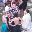 Exclusif - Jason Segel et Jonah Hill au mariage de Behati Prinsloo et Adam Levine à la Flora Farm à Los Cabos, le 19 juillet 2014.