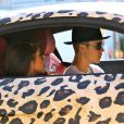 Exclusif - Justin Bieber en compagnie de Yovanna Ventura à bord d'une Audi R8 au motif panthère dans les rues de Los Angeles. Le 9 juillet 2014.