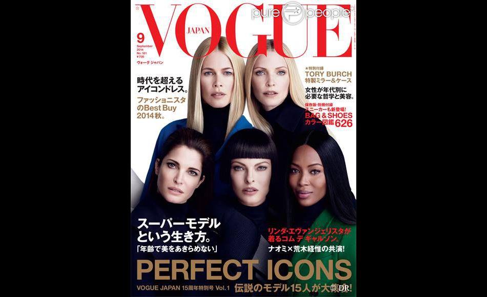Claudia Schiffer, Nadja Auermann, Stephanie Seymour, Linda Evangelista et Naomi Campbell en couverture de Vogue Japan. Septembre 2014.