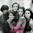 Naomi Campbell, Linda Evangelista, Tatjana Patitz, Christy Turlington et Cindy Crawgord en couverture de Vogue (édition britannique). Janvier 1990. Photo par Peter Lindbergh.