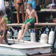 Lourdes Leon et son frère Rocco Ritchie, les enfants de Madonna, se baignent à Cannes, le 6 août 2014.