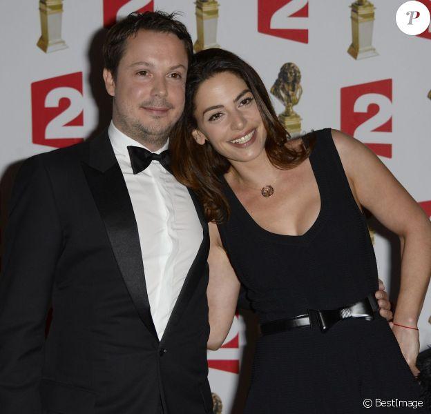 Davy Sardou et sa femme Noémie Elbaz lors de la 26e nuit des Molières aux Folies Bergère à Paris, le 2 juin 2014.