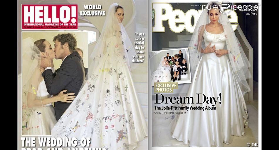 Les photos du mariage d'Angelina Jolie et Brad Pitt en couverture des magazines Hello! et People