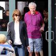 Nicole Kidman avec son père Antony sur le tournage du film Family Fang à New York le 4 août 2014