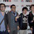 Les humoristes Cyprien, Norman et Hugo tout seul lors de la soirée Fifa 13 à l'Olympia, le 25 septembre 2012.