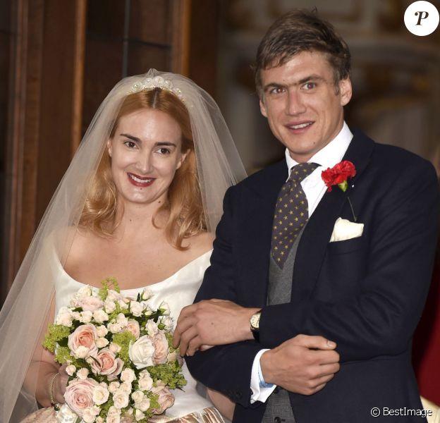 La princesse Maria Theresia von Thurn und Taxis et Hugo Wilson lors de leur mariage, le 13 septembre 2014 en l'église St Joseph à Tutzing, en Bavière (Allemagne).