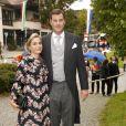 Le prince Alexander d'Isembourg et la princesse Sarah  au mariage de la princesse Maria Theresia von Thurn und Taxis et d'Hugo Wilson en l'église St Joseph de   Tutzing, en Bavière (Allemagne), le 13 septembre 2014.