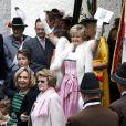 La princesse Gloria von Thurn und Taxis radieuse  au mariage de la princesse Maria Theresia von Thurn und Taxis et d'Hugo Wilson en l'église St Joseph de   Tutzing, en Bavière (Allemagne), le 13 septembre 2014.