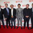 Pascal Breton, Reed Hastings (Patron de Netflix), Dan Franck, Samuel Benchetrit, Florent Emilio-Siri et Ted Sarandos (le directeur en charge des acquisitions de programme de Netflix) - Soirée de lancement Netflix au Faust à Paris, le 15 septembre 2014.