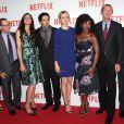 Laura Prepon, Famke Janssen, Eli Roth, Taylor Schilling, Uzo Aduba, Neil Hunt et Ted Sarandos lors de la soirée de lancement de Netflix France chez Faust, Paris, le 15 septembre 2014.