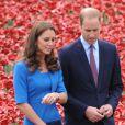 Kate Middleton et le prince William visitant une installation de coquelicots commémorant la Première Guerre mondiale, au pied de la Tour de Londres, le 5 août 2014.