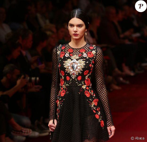 Kendall Jenner lors du défilé Dolce & Gabbana printemps-été 2015. Milan, le 21 septembre 2014.