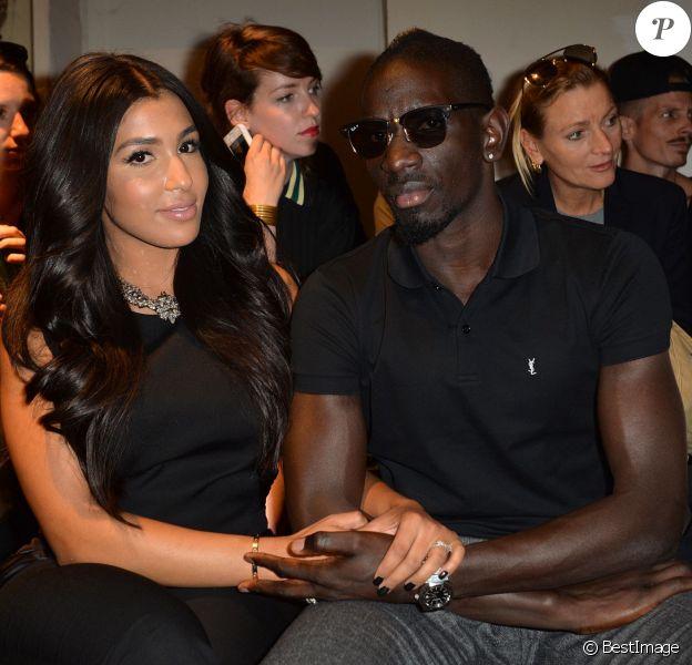 Mamadou Sakho et sa femme Majda assistent au défilé Barbara Bui printemps-été 2015 au Palais de Tokyo. Paris, le 25 septembre 2014.