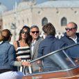 George Clooney et sa fiancée Amal Alamuddin arrivent à Venise le 26 septembre 2014 où ils vont célébrer leur mariage civil, prévu lundi 29 septembre.