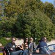 George Clooney et sa future femme Amal Alamuddin arrivent avec leurs amis Cindy Crawford et Rande Gerber pour le mariage à Venise le 26 septembre 2014