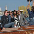 George Clooney et sa future femme Amal Alamuddin arrivent avec leurs grands amis Cindy Crawford et Rande Gerber pour le mariage à Venise le 26 septembre 2014
