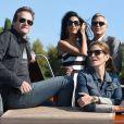 George Clooney et sa future femme Amal Alamuddin arrivent avec leurs amis Cindy Crawford, sublime et décontractée, et Rande Gerber pour le mariage à Venise le 26 septembre 2014