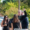 George Clooney et sa future femme Amal Alamuddin arrivant avec leurs amis Cindy Crawford et Rande Gerber pour le mariage à Venise le 26 septembre 2014
