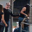 Matt Damon et sa femme Luciana Barroso arrivant à Venise où se déroule le mariage de George Clooney et Amal Alamuddin le 26 septembre 2014
