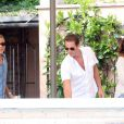 George Clooney, Rande Gerber, Cindy Crawford - Les invités du mariage de George Clooney prennent un petit-déjeuner à Venise. Le 27 septembre 2014  Actor George Clooney is seen enjoying a pre-wedding breakfast with model Cindy Crawford, Rande Gerber and other guests at the swanky Cipriani hotel and restaurant in Venice, Italy on September 27, 2014. The star is due to marry human rights lawyer Amal Alamuddin this weekend.27/09/2014 - Venise